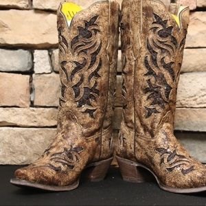 Distressed Brown Leather Boot Inlay & Embroidery